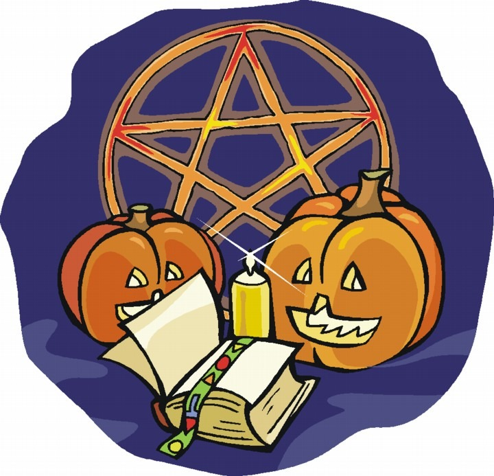 pentacle with pumpkins, candle and book